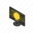 bitcoin, computer, cryptocurrency, device, digital, technology icon