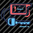 alarm installation, breloque, exclamation, ignition key icon