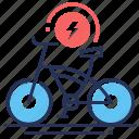 bicycle, charging, ecology, electric bike icon
