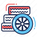 assembling, car, tires, wheel icon