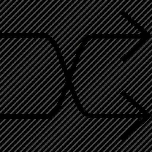 arrows, overlap, random, randomize, repeat, shuffle icon