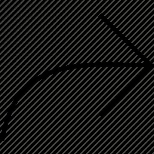 arrow, right, share, shortcut, turn icon