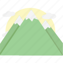 mountains, orange icon