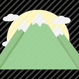 mountains, orange icon