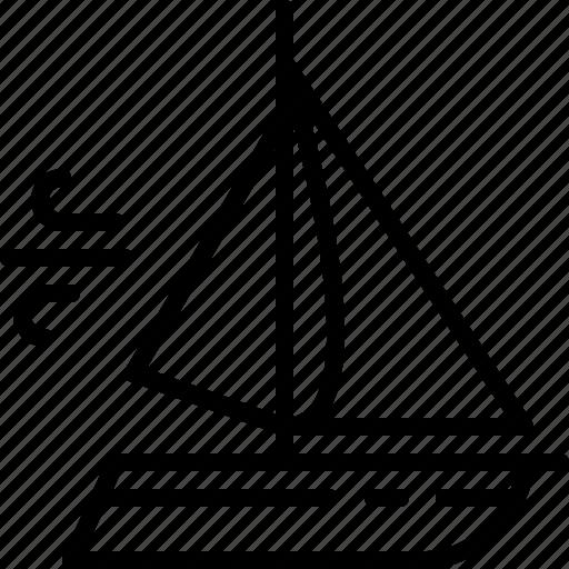 boat, sail, sailing, speeding, wind icon