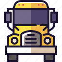 bus, front, school, semi, truck, vehicle icon