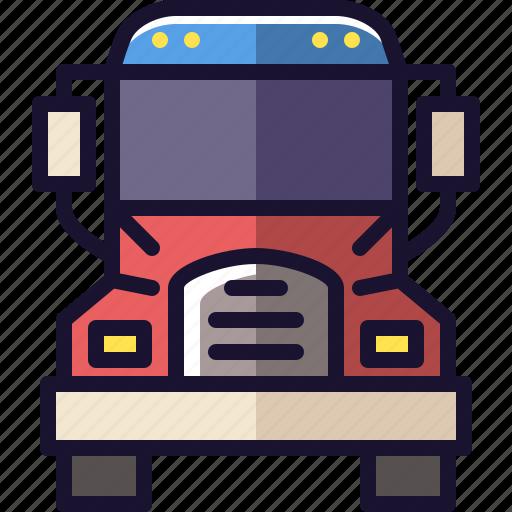 semi, semi-truck, truck, vehicle icon