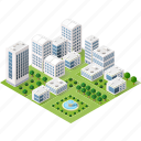 apartment, building, city, factory, illustration, isometric, town