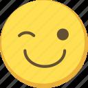 cute, emoji, emoticon, wink, yellow icon