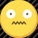 cute, emoji, emoticon, nervous, yellow icon