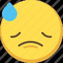 cute, emoji, emoticon, sad, yellow icon