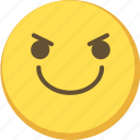 cute, determined, emoji, emoticon, yellow icon
