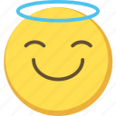 angel, cute, emoji, emoticon, kind, yellow icon