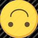 cute, emoji, emoticon, happy, upsidedown, yellow icon