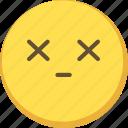 cute, dead, emoji, emoticon, yellow icon