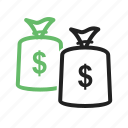 cash, coins, currency, dollar, monetary, money bag, sack icon