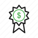 badge, banking, currency, dollar, money, sign icon