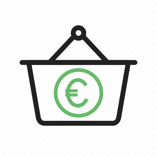 basket, business, cash, currency, euro, money, wealth icon