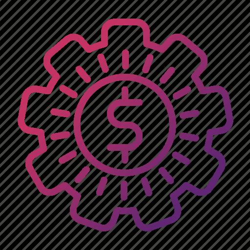 gear, make, money, strategy icon