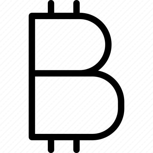 bitcoin, bitcoin-sign, currency, digitial, line-icon, sign, virtual-currency icon