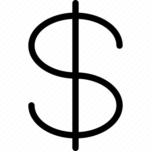 currency, dollar, dollar-sign, line-icon, money, peso, sign icon