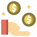 coins, gestures, get, money, payment, profit icon