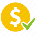 cash, check, coin, currency, dollar, money, payment icon