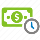 bank, cash, clock, dollar, finance, money, time icon