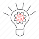 bulb, cog, gear, idea, money, settings icon