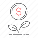 business, dollar, grow, plant icon