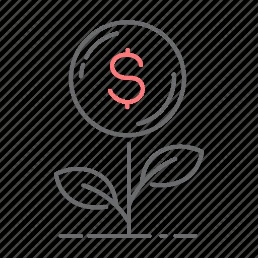 business, dollar, grow, plant icon