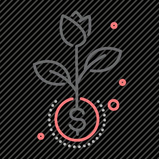 flower, grow, growth, invest, return icon