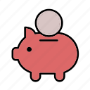 bank, cash, coin, finance, money, piggy bank, save icon