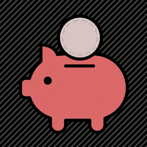 bank, cash, coin, finance, money, piggy bank, save icon