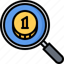 banking, coin, economy, finance, magnifier, money, search icon