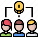 coin, economy, finance, group, money, people, team icon