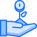 coin, finance, hand, money, note, sprout, startup icon