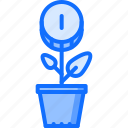 banking, coin, finance, flower, money, pot, sprout icon