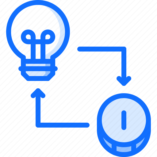 bulb, coin, economy, exchange, finance, idea, money icon