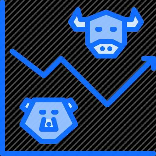 bear, bull, exchange, finance, graph, money, stock icon
