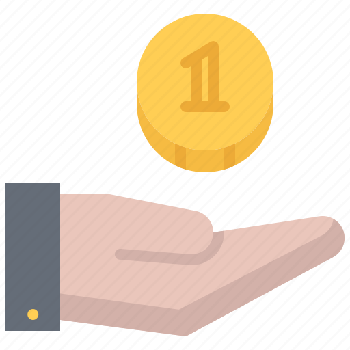 banking, coin, economy, finance, hand, money, payment icon