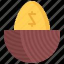 economy, egg, finance, gold, golden, money, nest icon