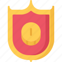 banking, coin, economy, finance, money, protection, shield icon