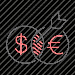 arrow, direction, dollar, euro, finance, goal, target icon