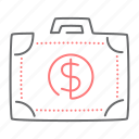 briefcase, case, cash, dollar, finance icon