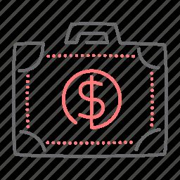 briefcase, case, cash, dollar, finance icon
