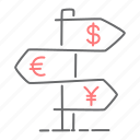 directions, euro, finance, navigation, yen icon
