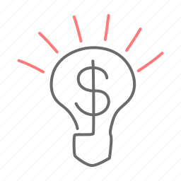 bulb, dollar, finance, idea, light, money icon