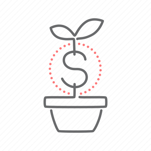 dollar, finance, grow, plant icon