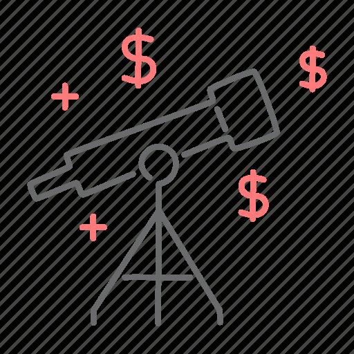 dollar, finance, stars, telescope icon
